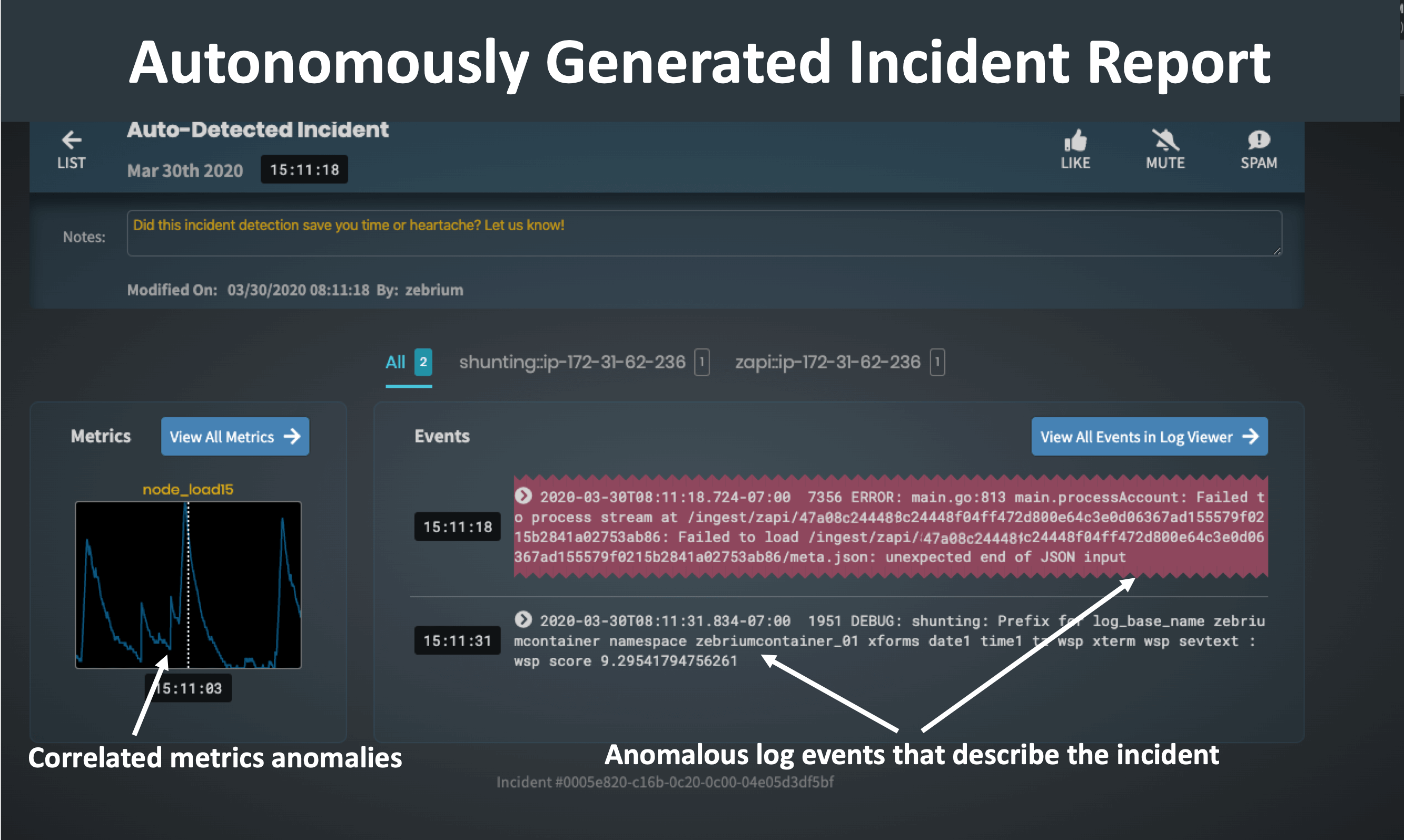 2 - Zebrium Autonomous Incident