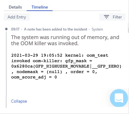 opsgenie timeline showing augmentation with root cause from Zebrium