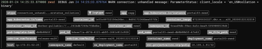 Zebrium Kubernetes Metadata