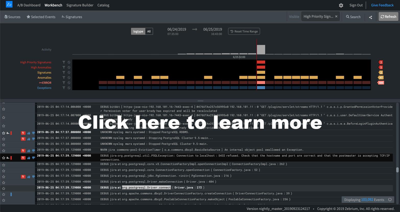 Zebrium UI learn more